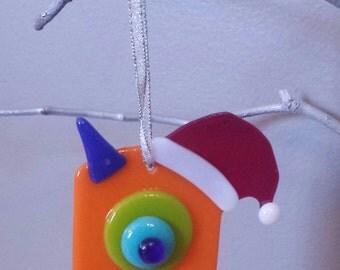 Fused Glass Monster Ornament