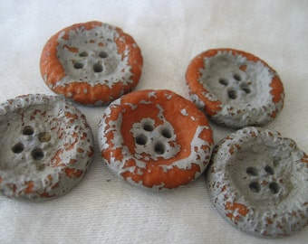 Set of 5 VINTAGE Faux Ceramic Painted Sew Thru Sewing BUTTONS