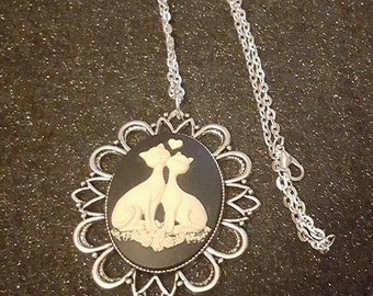 Cat, Cat cameo, Retro cat,retro kitty, kitty, cat necklace, ready to ship, gifts for her, cat necklace, retro, cat gift, crazy cat lady