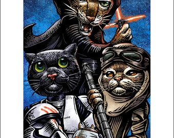 Cat Wars: The Force Awakens-  11 x 14 signed print