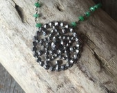 Vintage Rosary Inspired Reclaimed Upcycled Steel Cut Button Necklace on Sterling with green onyx, Gifts under 65, Gifts for Her
