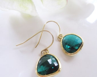 Emerald Green Earrings, Gold Earrings, St. Patricks Day, Spring Jewelry, Gardendiva