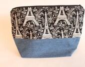 Medium Zipper Pouch, Shawl Knitting Bag, Eiffel Tower & Denim