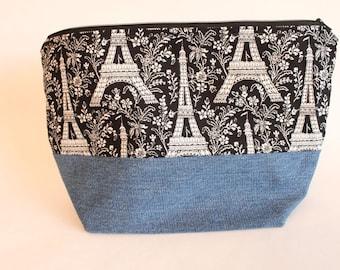 SALE Medium Zipper Pouch, Shawl Knitting Bag, Eiffel Tower & Denim