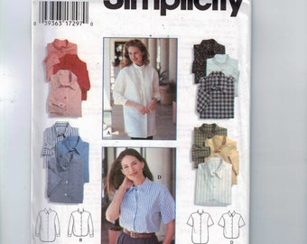 1990s Misses Sewing Pattern Simplicity 9818 Misses Top Button Front Shirt Collar Size 12 14 16 Bust 34 36 38 UNCUT 1996 90s  99