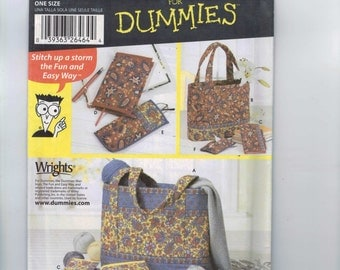 Craft Sewing Pattern Simplicity 5598 Sewing for Dummies Accessories Purse Wallet Handbag Bag Eyeglass Case Quilted UNCUT
