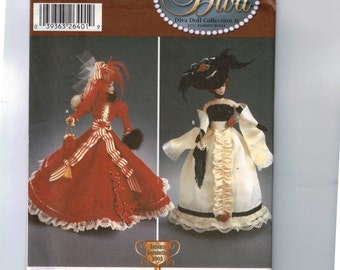 Doll Sewing Pattern Simplicity 5702 Diva Dolls 11 1/2 Inch Doll Barbie 19th century Victorian Dress Hat Scarlett Ohara Historical UNCUT