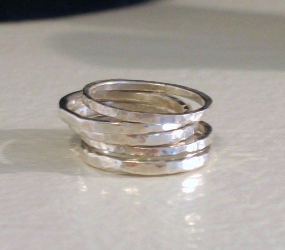 Set of 3 Hammered Skinny Stacking Rings Sterling Silver