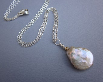 Teardrop satin pink coin pearl pendant necklace on sterling flat cable chain