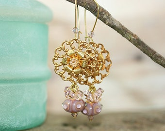 Lavender Lampwork Glass, Swarovski and Brass Filigree Earrings, Handcrafted Vintage Style Art Glass Jewelry, Victorian, Nature Inspired Drop