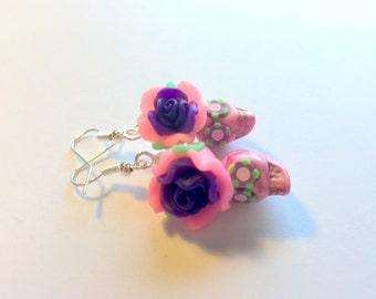Sugar Skull Earrings Dia De Los Muertos Pink Purple Green Rose Skull Earrings