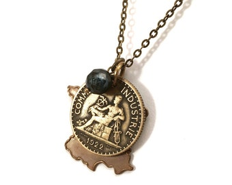 French franc coin necklace with map of France cutout charm and pearl