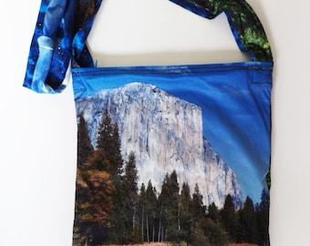 Upcycled Landscape Nature Digital Print Zippered Crossbody Purse