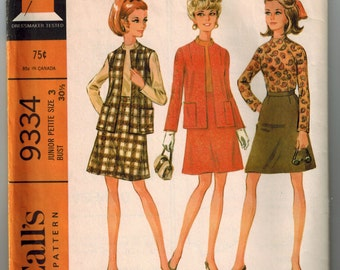 1968 Sewing Pattern Vintage Skirt Blouse and Jacket in Two Versions Junior Petite Size 3 Bust 30.5 McCall's 9334 A-line Skirt Darted Blouse