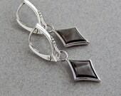 Black Lip Shell Earrings: Sterling silver leverback earrings, black diamond dangles, 925 silver, black and white jewelry, 1.5 inches long