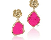 Statement Earrings Stone color dangle chandelier drop stone fuchsia bright pink hot pink neon pink gold earrings