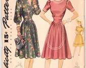 Vintage Sewing Pattern Simplicity 4258 Ladies' Dress 1940's 34 Bust - With FREE Pattern Grading E-Book Included