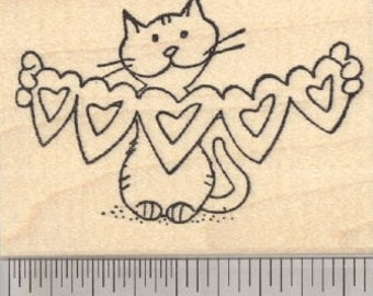 Valentine Cat Rubber Stamp, with Heart Cut Outs H29311 Wood Mounted