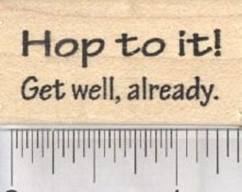 Get Well Frog Saying Rubber Stamp, Hop to it! B29412 Wood Mounted