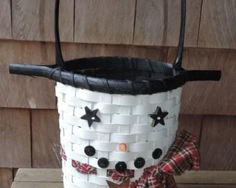 Snowman Basket Snowman Decoration Winter Decoration
