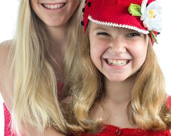 EAP CROCHET PATTERN Ladybug Crochet Pattern  Cap, Hat & Flower Pin Sizes Child (Youth, Adult)