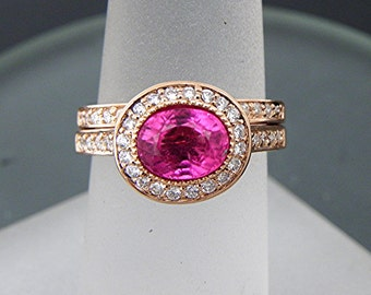 AAAAA Pink Tourmaline   7.5x5.8mm  1.30 Carats   Oval 14K Rose gold Halo bridal set with .35cts of diamonds. 789