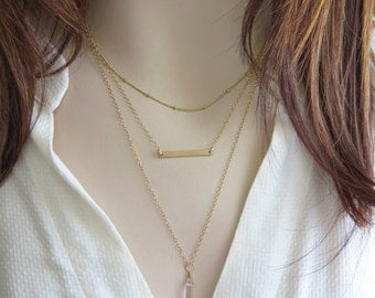 Layered Necklace Set • Set of Three Necklaces • Tiny Bar • Dainty Crystal Point • Satellite Beaded Chain • Layering Necklaces • Extender