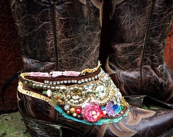 Sparkling Bohemian Boot Wrap, Boot Belt, Boot Jewelry, Boho Treasure, Tattered Lace, Jewels, Beads, Wearable Art, Magical, Fairy Tale