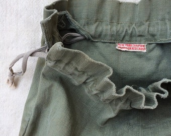 vintage WWII era American Red Cross New York Chapter olive drab HBT ditty bag