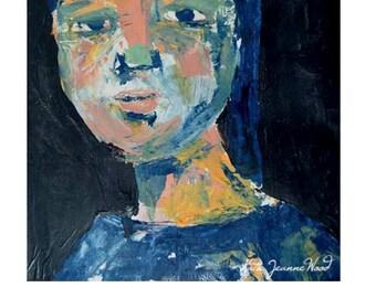 Digital Print. Woman Portrait Painting. Woman Portrait Print. Palette Knife Art. Darkest Darks. Wall Art Decor