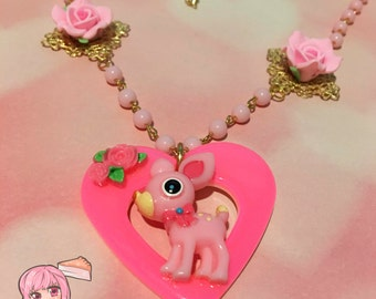 Pink Fawn Heart Pendant And Roses Pink Beaded Necklace