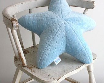 Super Soft Small and Squishy Minky Starfish Pillow  - Great for Baby and Toddlers- Light Blue