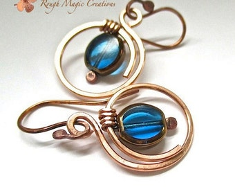 Cobalt Sapphire Blue Earrings Hammered Copper Large Hoop Dangles Boho Statement Bohemian Gypsy Style Mixed Media Jewelry Two Tone Earrings