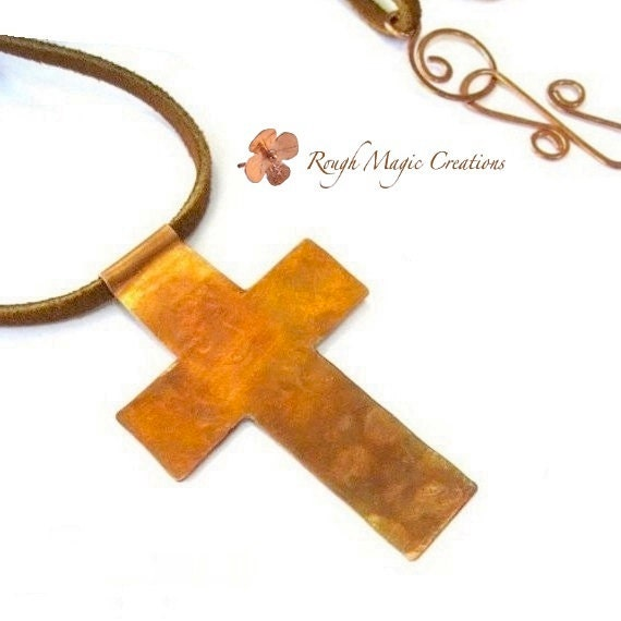 Christian Jewelry. Large Cross Pendant. Rustic Copper. Religious Inspirational Statement Necklace for Man or Woman. Suede Leather Cord
