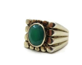 Chrysoprase Jewelry - Statement Ring, Green Chrysoprase, Sterling Silver, Estate Jewelry, Unisex Men Women