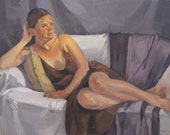 """Sale! Art painting figure portrait """"The Brown Dress"""" Original oil on canvas by Sarah Sedwick 16x20in"""