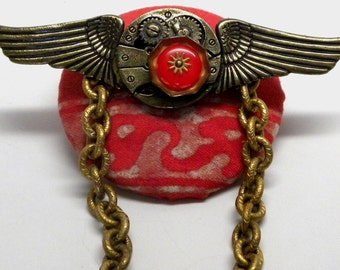 Time Flies Large Steampunk Clock Gear Wings Statement Chain BROOCH  Pin Vintage FORTUNY Corone Border Fabric Red BAKELITE Gear Button