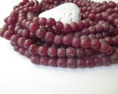 red round glass beads , matte opaque red  - brown  lampwork beads , rustic gritty textured indonesian  9 to 11mm  / 12 pcs - 5A38-1