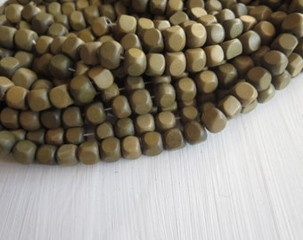 cube wood beads , painted  green  , finished wood ,   faceted wooden beads,  exotic natural material Indonesian , 7-8mm ,50 beads  5A19-4