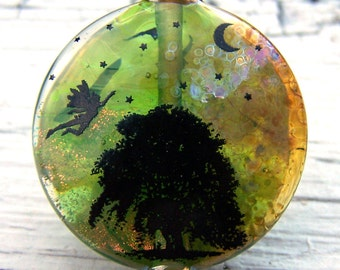 Fairy Lampwork Focal - amber, green, black, orange dichroic, metallic copper and gold - Ancient Oak - SRA AutEvDesigns, ISGB