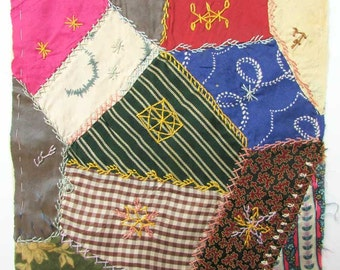 Antique Victorian 1890's Silk Ribbon Fabrics Crazy Quilt Fancy Stitch Embroidered Square, 9 Inch Quilt Square, Antique Silk Ribbon Work