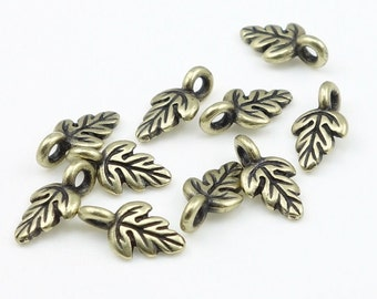 Tiny Leaves Antique Brass Charms Brass Leaf Charms TierraCast Oak Leaf Drop Fall Charms Autumn Charms for Jewelry Making Fall Beads