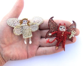 Angel and devil brooch set, unusual brooches, crochet wire dolls, good vs evil, fantasy brooches, red and gold, angel and devil jewelry