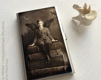 CARD CASE - Guardian - business card case, credit cards are kept safe, cash holder, Boy atop Books