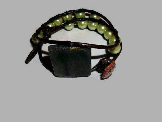 Double Leather Wrap Bracelet with Square Focal Bead Pistachio Green Pearls and Owl Button Closure Boho Chic Gypsy Country Wedding Friend Mom