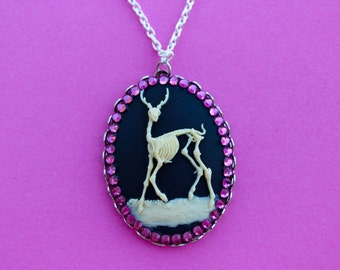 Large Black Deer Skeleton Cameo Silver Necklace with Magenta Rhinestones