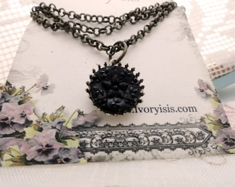 Victorian Mourning Glass Button Necklace