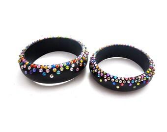 Hand Painted Black and Mixed Color Rainbow Rhinestone Cuff Bracelet, Confetti Rhinestone Cuff Bracelet, Wooden Rhinestone Bracelet