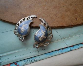 sterling silver neillo siamese clip on earrings ear wings  - vintage enamel siam jewelry