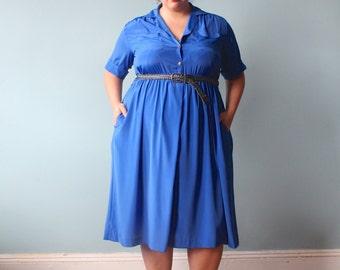 plus size dress / royal blue secretary dress / 1980s / XXL